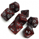 Red & Black 'Silver Volcano' Speckled Polyhedral 7 Dice Set